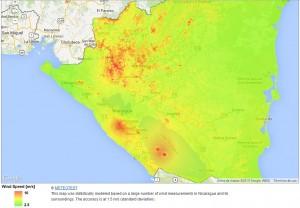 Mapa de Recurso Eólico en el Pacífico de Nicaragua