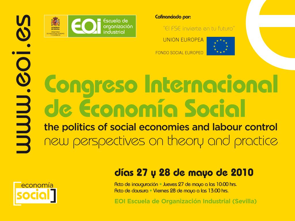 Congreso Internacional de Economía Social, EOI Sevilla, 27-28 mayo