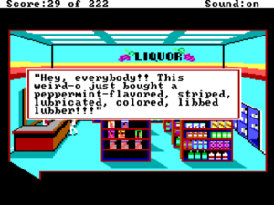 "Escena de los condones en el juego ""Leisure Suit Larry in the Land of the Lounge Lizards"""