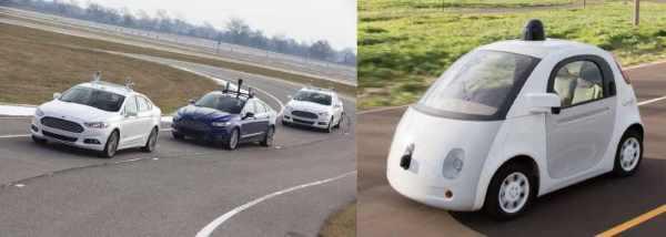 Imágen de diversos prototipos de vehículos autónomos de Ford y Google